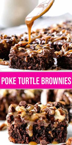 Poke Turtle Brownies Recipe Crazy moist Poke Turtle Brownies seeping with pockets of caramel, infused with pecans and chocolate chips, smothered in the BEST chocolate frosting and topped with more caramel AKA the best brownies EVER! Köstliche Desserts, Delicious Desserts, Dessert Recipes, Yummy Food, Turtle Brownies, Best Brownies, Fudgy Brownies, Chocolate Brownies, Homemade Chocolate
