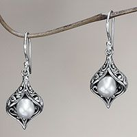 Cultured pearl dangle earrings, 'Lily of Bali' from @NOVICA, They help #artisans succeed worldwide.