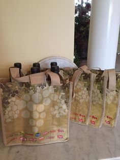 SET OF 4 EARTHWISE WINE BOTTLE TOTE BAGS HOLDS 6 BOTTLES REUSABLE USED ONCE #Earthwise