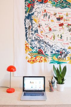 """""""The other prized possession is a vintage tablecloth map of America that my other grandmother Grammy embroidered my cross-country road trip route on. I sent her postcards every stop so she could track my progress, and she did so by embroidering the tablecloth and gave it to me as a gift upon my return. I hang it over my work desk now."""""""