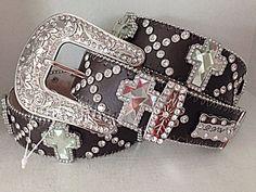 S-M-L-XL Western Cowgirl Belt Rhinestone Women Bling Leather Brown Cross Crystal #BHW