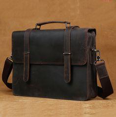 Handmade Leather messenger bag, leather shoulder bag, leather briefcase (C19)…