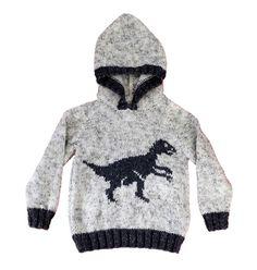 Aran Children Knitting Pattern Dinosaur Child's Hoodie
