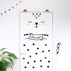 Personalisierte Tür Aufkleber: Luca der Leopard / von MadeofSundays