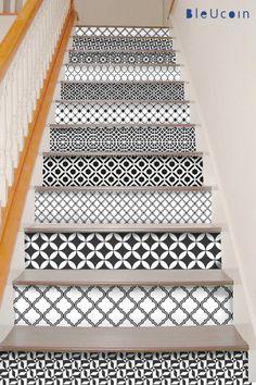 15 trappen decal: geometrische zwart -wit stijl = 10 Designs 10 strips met 120cm lengte