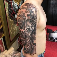 Next will be the chest with this piece Samurai Tattoo Sleeve, Arm Sleeve Tattoos, Forearm Tattoos, S Tattoo, Chest Tattoo, New Tattoos, Body Art Tattoos, Tribal Tattoos, Tatoos