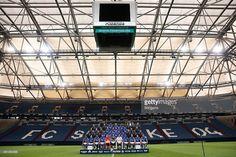 Team of FC Schalke 04 poses during the Team Presentation at Veltins-Arena on July 17, 2015 in Gelsenkirchen, Germany.