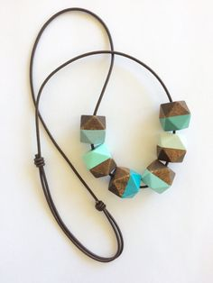 Hand painted geometric wooden bead statement necklace by MODFRESH, www.modfresh.etsy.com