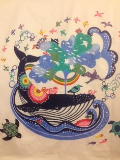 Japanese Textiles, Japanese Patterns, Japanese Art, Fabric Print Design, Textile Design, Whale Art, Sea And Ocean, Okinawa, Pictures To Draw