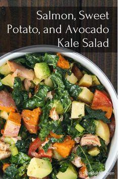 Salmon, Sweet Potato, and Avocado Kale Salad