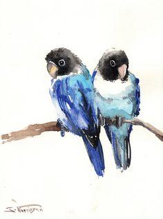 Blue Lovebirds Original watercolor painting 12 X 9 by ORIGINALONLY, $30.00