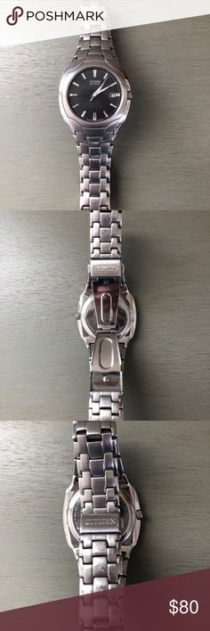 Citizen Eco Drive Men's Watch Men's watch - Citizen Eco Drive. Solar powered. No watch batteries!! Very good pre- owned condition. Gray watch face without scratches. Normal wear on back of watch Face and band. Citizen Accessories Watches