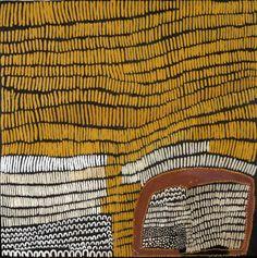 "Lena Nyabdi - Gimmenbayn Cave, 59 x 59"" (150 x 150 cm), natural ocher and pigments on canvas. Harvey Arts Project USA, Ketchum, Idaho."