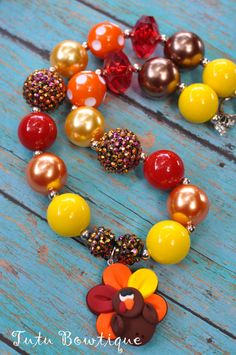 Gobble Gobble Turkey Chunky Bead Necklace  by TutuBowtiqueDesigns, $18.00