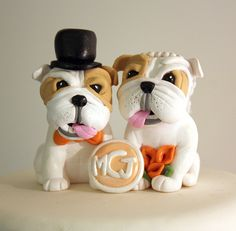 A fabulously cute Custom Bulldog Wedding Cake Topper by Karly West, via Flickr. #dogs #bulldogs #wedding #cake #toppers