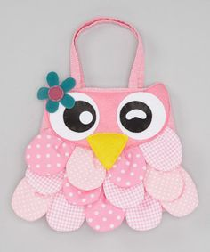 An adorable owl decorates this pretty-in-pink bag, and a roomy interior leaves plenty of space for a little darling to toss in and tote her everyday essentials. W x HShoulder drop: longPolyesterSpot cleanImported Fabric Crafts, Sewing Crafts, Sewing Projects, Messenger Bag Patterns, Owl Bags, Animal Bag, Fabric Bags, Girls Bags, Hobbies And Crafts