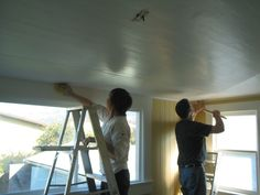 Beadboard wallpaper on the ceiling. I'm doing it in Mama's bathroom right now.
