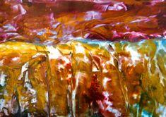 Encaustic auf Papier, 60x42 cm, ohne Rahmen, (Gold/Rot) Leider kommt das Gold nicht so gut am Foto :-( Gold, Painting, Art, Pictures, Paper, Frame, Abstract, Painting Art, Paintings