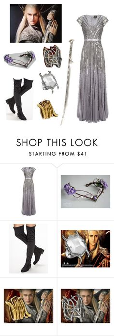 """""""Thranduil"""" by iveril-prime7 ❤ liked on Polyvore featuring Adrianna Papell, Nly Shoes, cosplay, TheHobbit and Thranduil"""