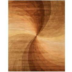 A unique swirled abstract design highlights this hand-tufted wool rug. This area rug features shades of brown, beige, gold, peach and mocha.