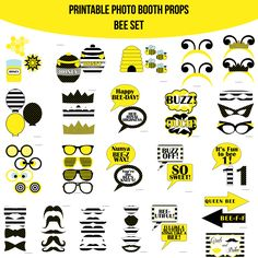 Instant Download Bee White Birthday Printable Photo Booth Prop Set — Amanda Keyt DIY Photo Booth Props & More!