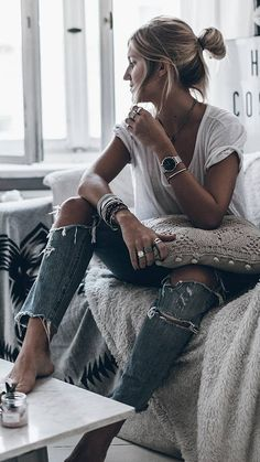 #winter #fashion /  White Tee + Destroyed Jeans