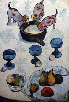 1888 – NATURE MORTE AUX TROIS PETITS CHIENS Gauguin obtient ce qu'il appelle de la « peinture d'enfant » par des lignes et des couleurs synthétiques, des formes cernées et des références explicites aux estampes japonaises Le modèle est une estampe japonaise montrant des chatons à la place des chiots Simplification du dessin et de la couleur, quasiment limitée au blanc et au bleu Suppression presque totale des ombres et du modelé Traitement fort peu réaliste des objets sur la table