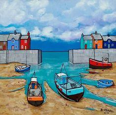 Harbourgate Acrylic painting by Paul Bursnall Boat Painting, Acrylic Painting Canvas, Stone Painting, Watercolor Paintings, Canvas Art, Seaside Art, Beach Art, Sailboat Art, Naive Art