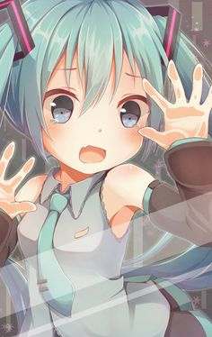 Anime open mouth behind the glass Vocaloid pigtails blue eyes blue hair Hatsune Miku crying Anime Girl Cute, Kawaii Anime Girl, Anime Art Girl, Manga Girl, Kawaii Art, Anime Girls, Manga Anime, Anime Neko, Wallpaper Animes