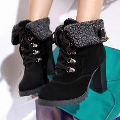 Buy High boots winter womens boots New hot sale Fashion Women Ankle Boots High Heels Lace up Snow Boots Platform Pumps shoe students fur boots casual ankle boots plus size boots US Size trending shoes on sale at Wish - Shopping Made Fun Buckle Ankle Boots, Ankle Heels, Suede Ankle Boots, Black Ankle Boots, Women's Boots, Calf Boots, Brown Boots, Fuzzy Boots, Warm Snow Boots