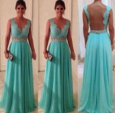 V-Neck Prom Dress Gown Lace Vestidos Chiffon Party Evening Dresses picture from Suzhou Leader Apparel Co. view photo of Prom Dress, Evening Dress, Dress.Contact China Suppliers for More Products and Price. Prom Dresses Blue, Pretty Dresses, Beautiful Dresses, Formal Dresses, Wedding Dresses, Gorgeous Dress, Dresses 2014, Dress Prom, Dress Lace