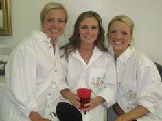 """McKinney, Texas Bride gave her best friends """"get-ready"""" gifts with their initials on the boyfriend shirt pocket. No one's hair was messed up that day!"""