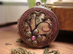 Locket, Image Locket, Pink Bird Tree Flower Brass Filigree Frame Colored Resin Photo Image Locket