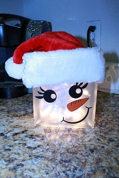 snowgirl Glass lighted block by TheSweetandSassy12 on Etsy