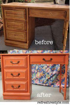 The Orange Crush Desk Makeover - Diy Furniture Ideas Furniture Projects, Furniture Making, Diy Furniture, Diy Projects, Office Furniture, Refurbished Furniture, Repurposed Furniture, Painted Furniture, Desk Makeover