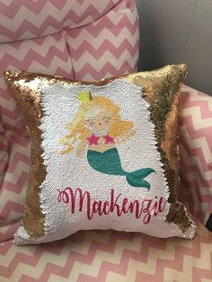 Gold and white Personalized Mermaid Pillow