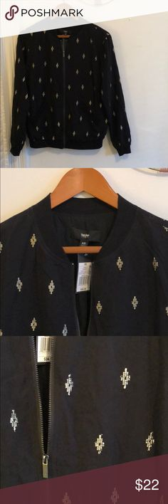 Black Bomber Jacket with Gold Embroidery NWT Never worn. Purchased at Target but never got around to wearing it. Relaxed fit, so XS could fit a true XS or a Small. Lightweight style, perfect for spring or fall. Two front pockets and elastic at wrists and waist. Mossimo Supply Co Jackets & Coats