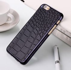 Luxury Crocodile Leather Skin Chromed Plated Hard Case For iPhone 6 Plus via Luxury Defense. Click on the image to see more!
