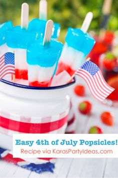 4th of July Homemade Red White & Blue Popsicles Recipe - Kara's Party Ideas - The Place for All Things Party