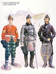 British in Canada; Sergeant 78th Highlanders 1868, Lieutenant Rifle Brigade 1870 and Officer 60th KRRC 1868. The busby bag shown on the Jock's hat is an incorrect misinterpretation of the original black and white photograph this figure is based on.