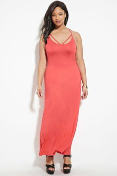Forever - A knit maxi dress with cami straps, strap accents outlining the scoop neckline, and a ladder-back design. Plus Size Dresses, Plus Size Fashion, To My Daughter, Latest Trends, Casual Dresses, Wrap Dress, Strapless Dress, Forever 21, High Neck Dress