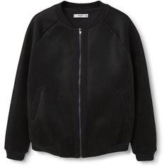 MANGO MANGO Mesh Pattern Bomber Jacket ($100) ❤ liked on Polyvore featuring outerwear, jackets, lined bomber jacket, zip jacket, bomber style jacket, blouson jacket and zipper jacket