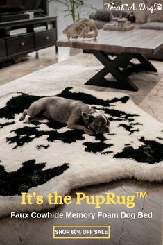 Introducing the PupRug™ Faux Cowhide memory foam dog bed. The worlds first memory foam dog bed artfully crafted with a faux fur cowhide cover to bring a rich natural touch to your home decor. Dog Training Treats, Training Your Dog, Training Collar, Agility Training, Dog Agility, Training Pads, Training Equipment, Potty Training, Crate Training