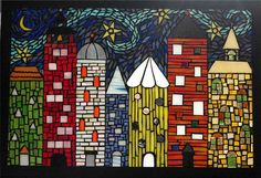 Glass on glass cityscape mosaic   by Meaco's Art Garden