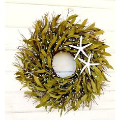 Coastal Star Fish Twig-Teal Wreath-Coastal Home Decor-Bathroom... ($85) ❤ liked on Polyvore featuring home, home decor, home fragrance, home & living, home décor, red, wall décor, wall hangings, red wreath and outdoor winter wreaths
