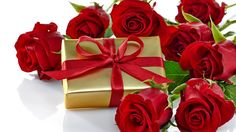 Download wallpaper flowers, red, box, gift, Valentine's Day, gift, roses, romantic, bow, roses, love, section flowers in resolution 1366x768