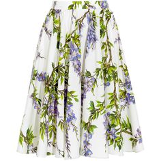 Dolce & Gabbana Floral-print cotton-poplin skirt, White/Lilac,... ($455) ❤ liked on Polyvore featuring skirts, bottoms, saias, dolce & gabbana, floral knee length skirt, evening skirts, floral skirt, floral print skirt and lilac skirt