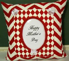 Red and white zigzag/diamonds picture frame pillow by Alethias, $45.00