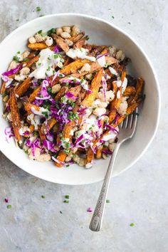 Loaded sweet potato fries with crisp beans