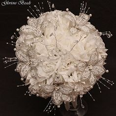 Amazon.com: White / Silver Beaded Lily Wedding Flower 18 piece set with White Roses ~ Unique French beaded flowers and beaded sprays: Handmade